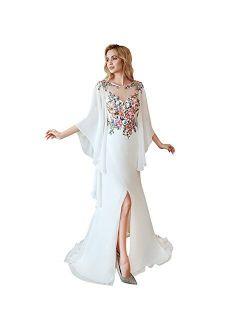 Leyidress Women's Colorful Flowers Beach Wedding Dresses Bridal Mermaid Sexy Split Party Dresses