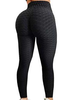Fapreit Women's Ruched Butt Lifting High Waist Yoga Pants Tummy Control Textured  Anti Cellulite Workout Leggings