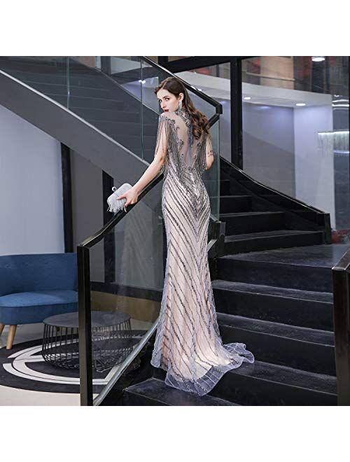 Maricopyjam Beaded Rhinestones Illusion High Neck Mermaid Formal Prom Dress