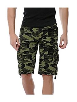 DONGD Mens Camo Cargo Shorts Relaxed Fit Outdoor Cotton Twill Cargo Shorts