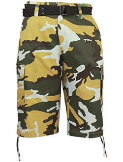 Regal Wear Mens Camouflage Cargo Shorts with Belt