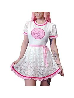 Adult Baby Diaper Lover Abdl Button Crotch Romper Onesie - Daddy's Princess Lacy Dress