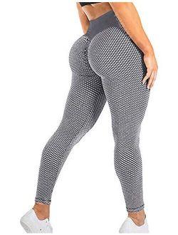 TSUTAYA Women's Ruched Yoga Pants High Waist Tummy Control Workout Leggings Textured Booty Tights