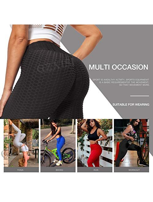 GZXISI Ruched Butt Lifting High Waist Textured Yoga Pants Tummy Control Workout Leggings