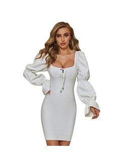 ZZPH  Club & Night Out Long Sleeve U-Neck Temperament Bandage Dress