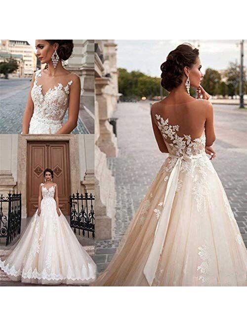 White Wedding Dresses Long Lace Applique Beading Waist Sweep Train Bridal Gown Dress with Detachable Beading Sash