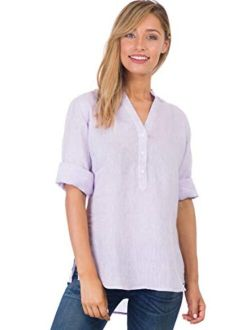 CAMIXA Linen Casual Relaxed Blouse Popover Shirt 3/4 Sleeve Tunic