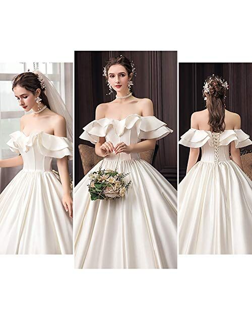 Women's Satin Wedding Dresses Ball Gowns Formal Party Bride Backless Dress Long Skirt (Color : White, Size : Large)