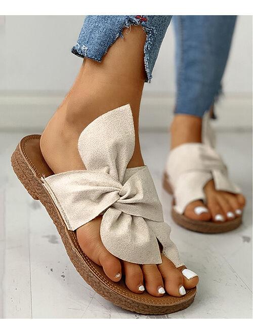White Knotted Toe Strap Slide - Women