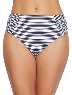 Birdsong Women's Newport Stripe Ruched High-Waist Bikini Bottom Style-S20154-NWST