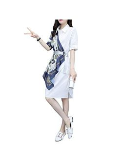 Dongjiguang Dress, Polyester Shirt Dress With Attached Side Scarf