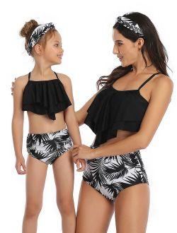 Two Piece Family Matching Swimsuit Parent-Child Mother Daughter Women Kids Girl Bikini Leaf Flower Swimwear Beachwear Swimming Costumes Bathing Suit Bikini Sets Tankini S