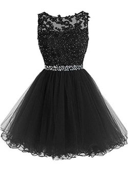 Dydsz Women's Prom Dresses Short Homecoming Dress A Line Tulle Party Cocktail Gown D126