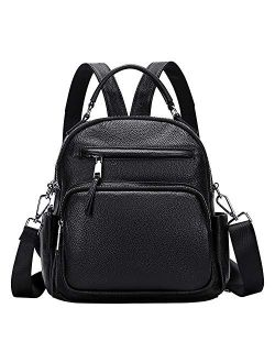 Genuine Leather Backpack For Women Small Convertible Backpack Purse Ladies Shoulder Bag 4 In 1 To Carry