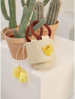 Tassel Charm Flower Embroidered Bucket Bag