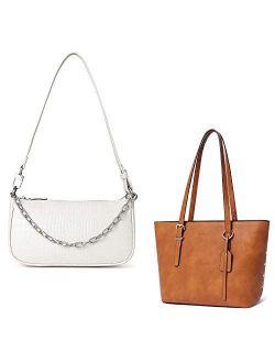 Women Classic Small Clutch Shoulder Tote Handbag Bundle With Brown Handbags