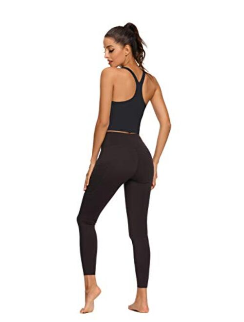 REKITA Workout Crop Tops for Women Athletic Tank Tops with Built in Bra Supportive Sports Bra