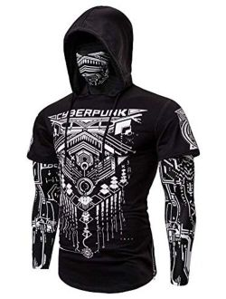 Performance Cycling Hoodie With Face Mask 3d Printed False Two-pieces Hooded Long Sleeve Shirt