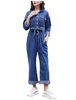 Omoone Long Sleeve Belted Wide Leg Denim Coverall Jumpsuits