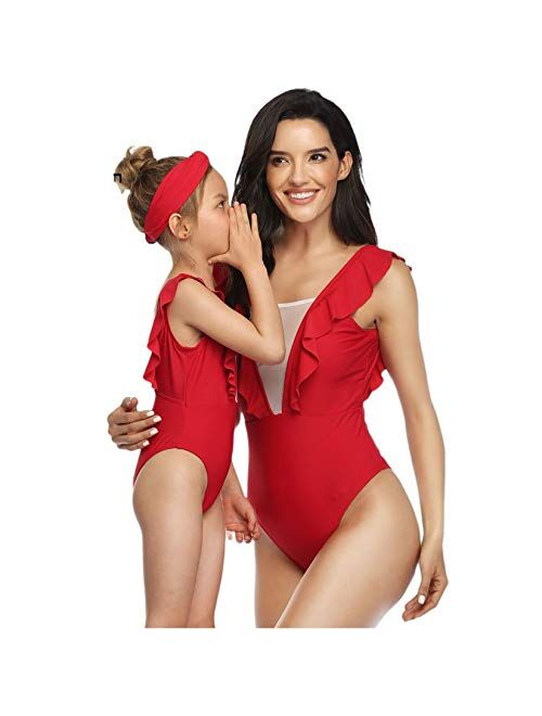 Mommy and Me One Piece Floral Swimsuit Mother and Daughter Zip-Up Bathing Suit Monokini Bikini Swimwear