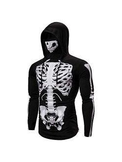 Performance Cycling Hoodie With Face Mask Skeleton Printed Hooded Long Sleeve Shirt