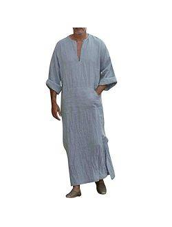 Men's Caftan V-neck Short Sleeve Robe Side Split Cotton Long Gown Thobe