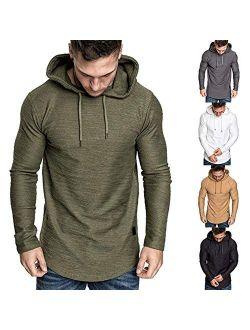 Men's Slub Hoodies Sweatshirts Casual Lightweight Sports Athletic Jersey Hoodied