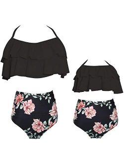 Vizakiss Women 2Pcs Fancy Mom and Me Floral Flounce Swimsuit Set Swimwear Family Matching Girls Bikini Sets