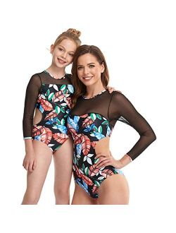 Mommy and Me Matching Swimwear One Piece Mother Daughter Bathing Beach Wear,Mesh Long Sleeve Sunscreen Swimsuit for Women