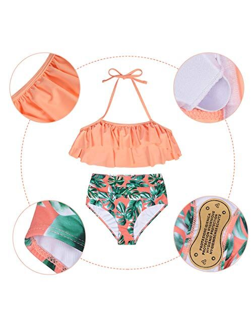 AmzBarley Girls Swimwear Mommy and Me Family Matching Swimsuits Halterneck 2 Piece Bathing Suit