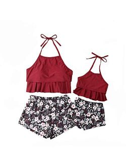 Parent- Child Swimwear Ruffle Floral Halter Swimsuit Set Family Matching Outfit