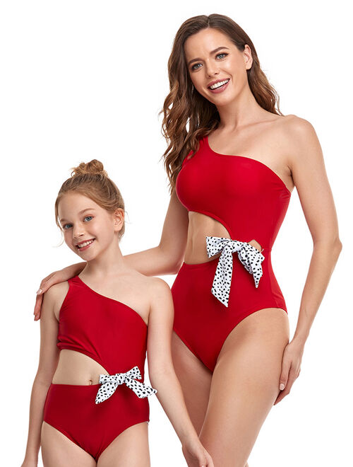 UKAP Family Matching Swimsuit Swimwear Mother Daughter Women Kids Girl One Piece Swimwear Beachwear Swimsuits Floral Bathing Suit Swimming Costumes Push Up Bra Padded Bac