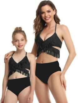 CVLIFE Family Matching Swimwear Swimsuit Mother Daughter Women Kids Girl Two Piece Swimwear Bikinis Set Beachwear Bathing Suit Swimsuits Swimming Costumes Bathing Suit Pu