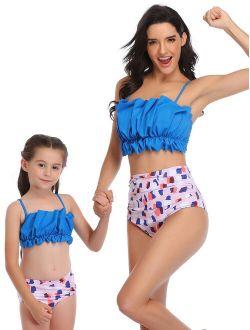 US Family Matching Parent-Child Mother Daughter Women Kids Children Girls 2Pcs Swimwear Tops+High Waist Swim Briefs Bottoms Tankini Set Floral Beachwear Bikini Swimming C