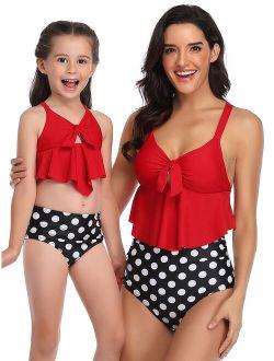 2Pcs Mother Women Daughter Kids Girl Parent-Child Family Matching Swimsuit Swimwear Ruffled Floral Bikini Sets+High Waist Swim Briefs Bottom Tankini Sets Beachwear Swimmi