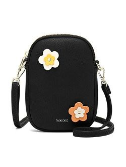 Women's Small Crossbody Purse Cell Phone Bag Lightweight Leather Travel Shoulder Bag, Fashion Applique Wallet Clutch Handbag Zipper Mobile Phone Bags, Gifts For Gi