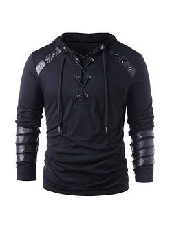 Men's Gothic Shirts Sweatshirt Lace Up Long Sleeve Pullover Hooded