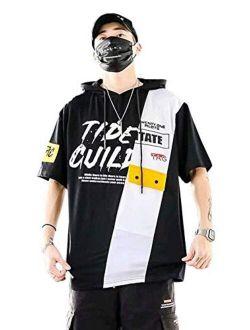 Men's Fashion Trends Hoodies Hip Hop Patchwork Sweatshirt Hoodie Top