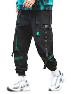 Men's Straps Elastic Waist Ankle Band Jogger Techwear Pants With 3d Pocket