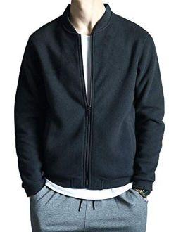 Men's Slim Fitvarsity Fleece Jacket Bomber Fleece Jackets