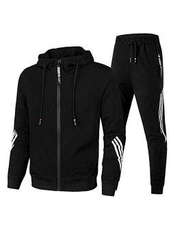 Mens Tracksuit Jogging Hoodie Coat Pants One Piece Jumpsuit Sport Gym Sweat Suit
