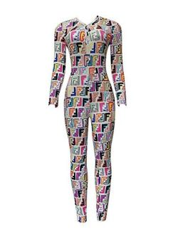 Women's Deep V-neck Long Jumpsuit Long Sleeve One Piece Bodysuit Sexy Bodycon Pajama Printed Romper Overall