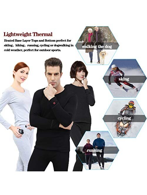 Sunwill Thermal Underwear for Men & Women, Winter Clothing with Heated Baselayer for Indoors, Outdoors, and Sports