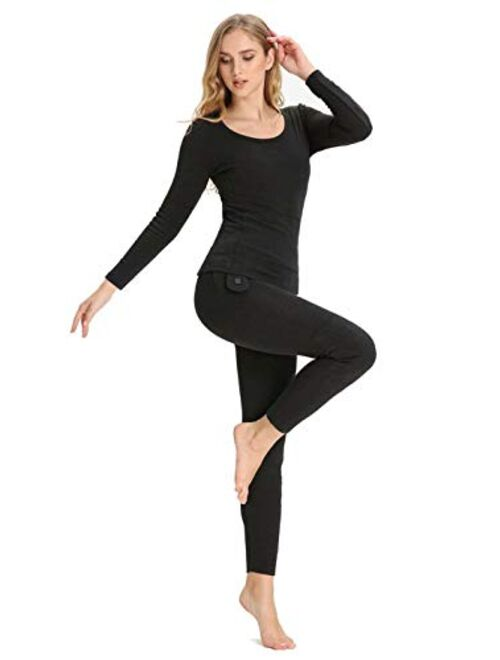 CEPORASK Heated Thermal Underwear for Men & Women, USB Electric Heating Long Sleeve Shirts and Pants for Winter Outdoors