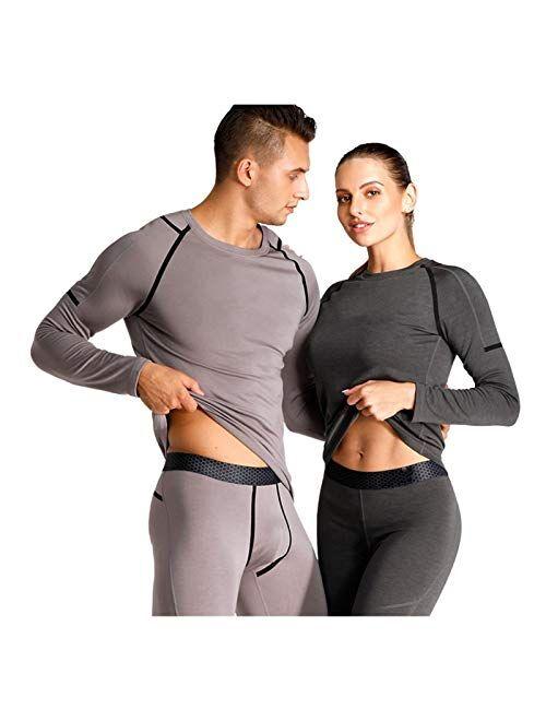 Jinqiuyuan Men Thermal Underwear Women Thermal Underwear High-tech Carbon Fiber Warm Fleece Long Johns Fashionable Men Thermal Winter (Color : Women Carbon Black, Size :