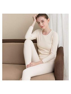 Jinqiuyuan Silk Velvet Thermal Underwear Set Women's Silk, Velvet, Thickened Round Collar, Bottom Clothes, Autumn Clothes and Trousers (Color : Beige, Size : Medium)
