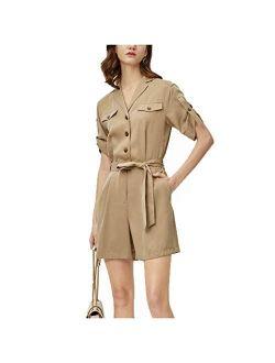 Women Short Sleve Loose Casual Wide Leg Baggy Playsuit Romper