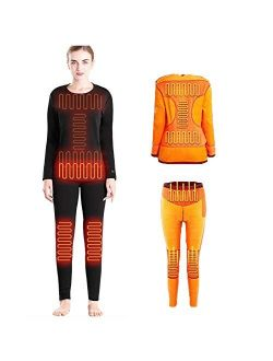 Heated Thermal Underwear for Women, Intelligent Temperature Control Electric Heating Cotton Pants+Shirt