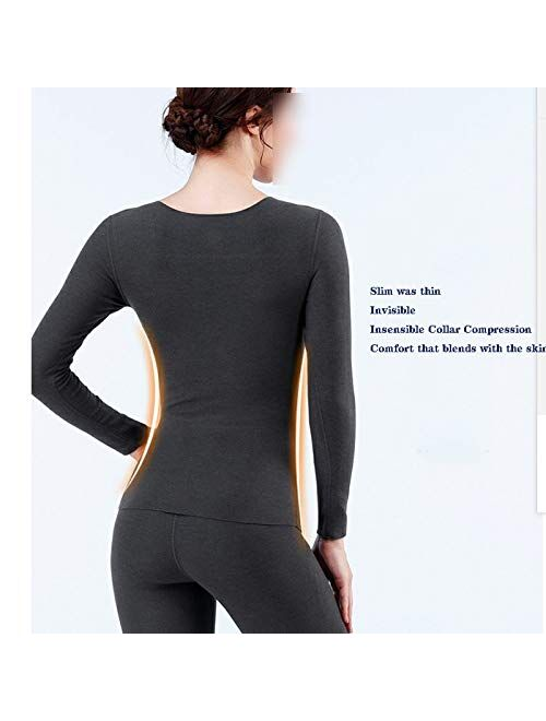 OMING Thermal Underwear Seamless Thermal Underwear Women with Chest pad Plus Velvet Thickening Inner wear Body Suit can not Afford The Ball, no Fading, Slim and Slim Wint