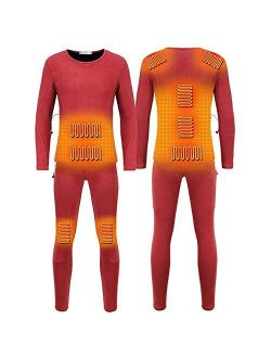 Lixin Winter Electric Heating Thermal Underwear Set USB Clothing Warm Heated T-Shirts and Pants for Men Women,Red,XL